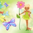 A fairy holding a pink flower with butterflies — Stock Vector