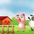 A farm with a pig and a sheep — Stock Vector