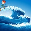 Stock Vector: A little boy surfing at the sea