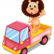 A pink cargo truck with a lion waving at the back — Stok Vektör