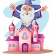 A pink castle with a wizard at the back — Stock Vector #26961763
