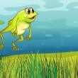 Stock Vector: Frog jumping in grass