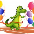 A crocodile walking between balloons — Imagen vectorial