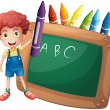 A little boy holding a big violet crayon near the blackboard — Stock Vector