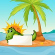 A crocodile holding an empty signboard in a small island  — Stock Vector