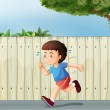Stock Vector: Little boy running at road