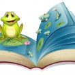 A book with a story of the frog in the pond — Stock Vector
