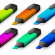 Six colorful markers — Vector de stock