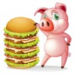 A fat pig beside the giant hamburger — Stock Vector #26962715