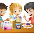 Kids preparing their snacks — Stock Vector