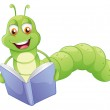 A smiling worm reading — Stock Vector