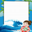 A girl with a lifebuoy beside the empty signboard — Stock Vector