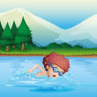 A small boy swimming — Stock Vector