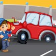 A boy near the car accident at the road — Stock Vector