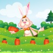 A rabbit holding a carrot at the garden — Stock Vector