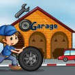A young man pushing the tire in front of the garage — Stock Vector