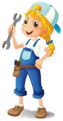 A girl holding a tool — Stock Vector