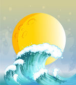 The big wave and the big sun — Stock Vector