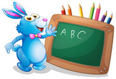 A bunny in front of a chalkboard with pencils at the back — Stock Vector