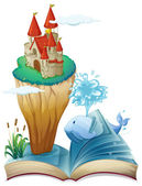 A book with a dolphin and an island with a castle — Stock Vector