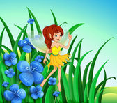 A fairy guarding the flowers — Stock Vector
