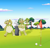 Two turtles playing golf — Stock Vector