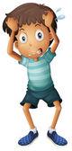 Een jongen zijn hoofd krabben — Stockvector