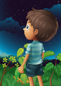 A boy gazing at the sky — Stock Vector