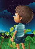 A boy gazing at the sky — Stock Vector