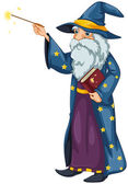 A wizard holding a magic wand and a book — Stock Vector
