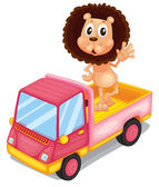 A pink cargo truck with a lion waving at the back — Stock Vector