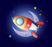 A rocket going to the moon — Stock Vector
