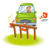 A reckless driver bumping the traffic cones — Stock Vector
