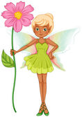 A fairy holding a fresh pink flower — Stock Vector