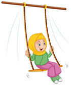 A girl at the swing — Stock Vector