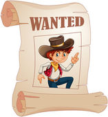 A poster of a wanted young cowboy — Stock Vector