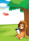 A lion reading under the tree — Stock Vector