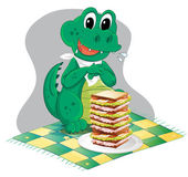 A hungry crocodile in front of a big pile of sandwich — Stock Vector