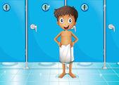 A boy in the comfort room — Stock Vector