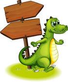 A crocodile beside the wooden empty arrowboard — Stock Vector