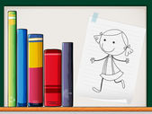 A piece of paper with a drawing of a girl beside the books at th — Stock Vector