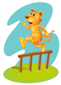 A brave tiger jumping over the wooden fence — Stock Vector