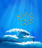 A school of fish and the waves — Stock Vector