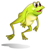 A green frog hopping — Stock Vector