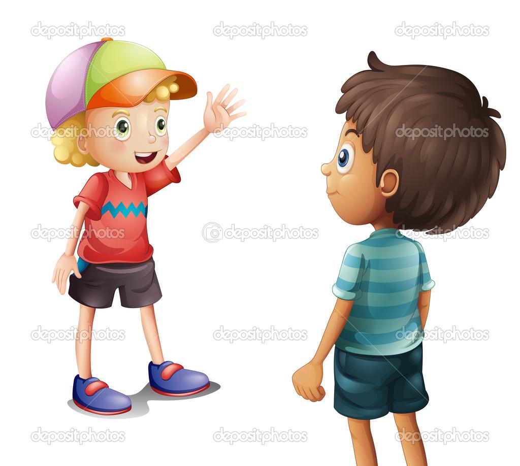 un niu00f1o saludando a su amigo - Ilustraciu00f3n de stock