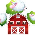Three jumping sheeps — Stock Vector #27108069