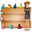 A young girl in front of an empty signboard with perfume bottles — Stock Vector