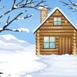 A wooden house in a snowy season — Stock Vector #27108237