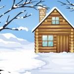 A wooden house in a snowy season — Stock Vector