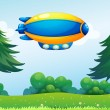 Stock Vector: Airship near hilltop
